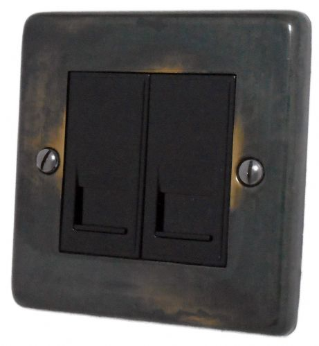 G&H CAN62B Standard Plate Polished Aged Brass 2 Gang RJ45 Cat5e Data Socket Point